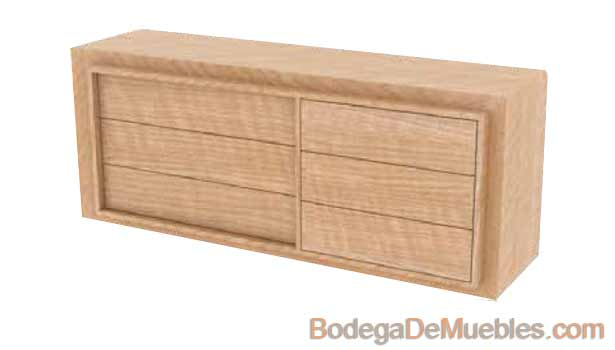 Comoda de Madera minimalista color cerezo sin agarraderas.