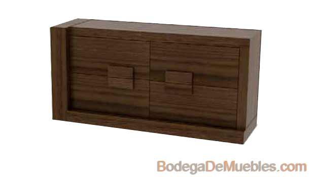 Comoda de Madera básica minimalista color tabaco fabricada en madera de fresno y alder.