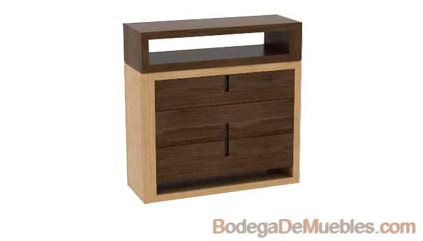 Cajonera de Madera bicolor hecha de madera de fresno y alder.