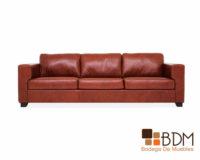sofa amplio de piel - para tres