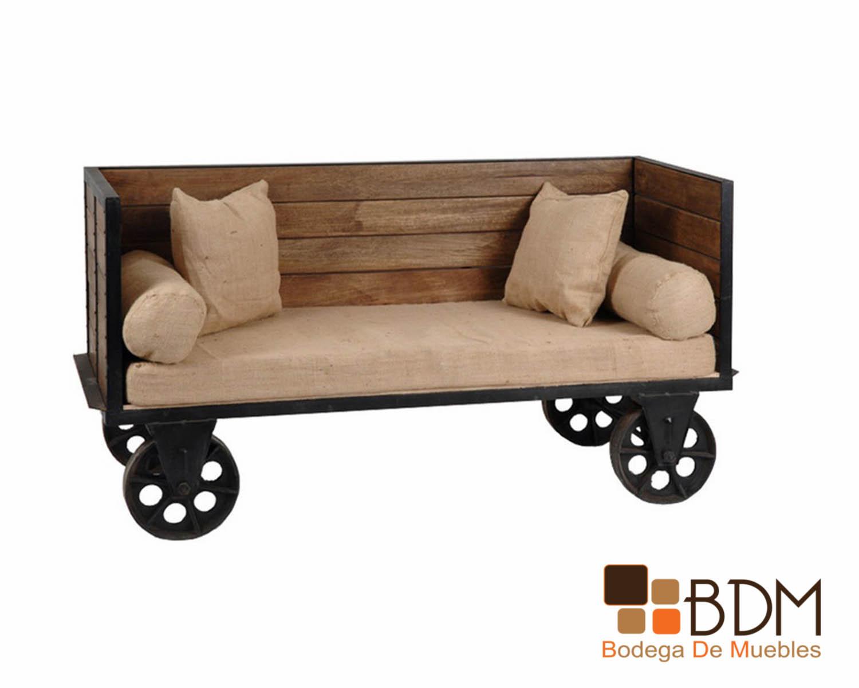 Sofa Carreta Sillon Vintage Loveseat Industrial Bodega De Muebles Muebleria Online