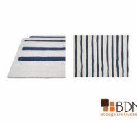tapete de lineas, tapete de lana, blanco y azul, elegante
