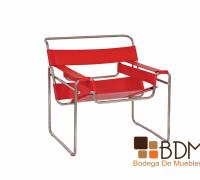 silla exterior piel roja
