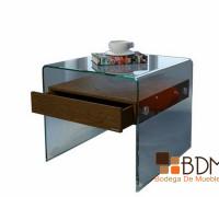 mesa lateral de cristal contemporánea