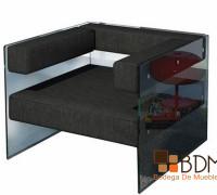 sillón de cristal futurista