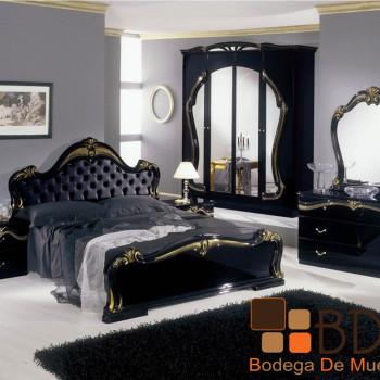 Recámara Negra con Aplicaciones en Dorado Furniture