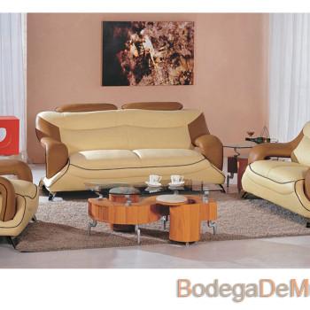 Sala de Piel Moderna Color Café y Beige