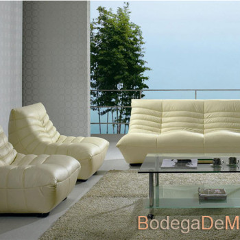 Sala de Piel Moderna y fresca color beige Set Oreon