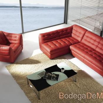 Sala esquinera con sillon individual color rojo Stoped