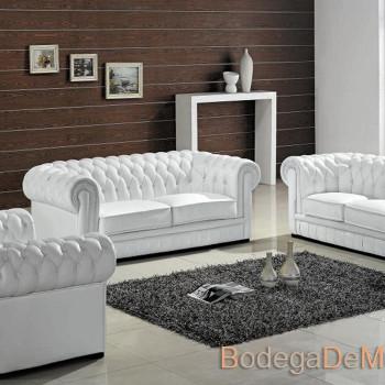 Sala de Piel Elegante y Contemporánea color blanca XIV