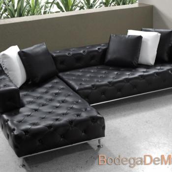 Sofa esquinero de piel color negro vintage Capiton