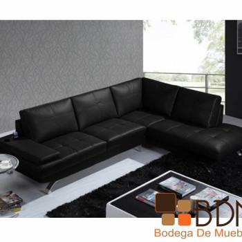 Sala de Piel Esquinera en Color Negro Farrel
