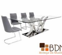 Mesa comedor con base en acero inoxidable