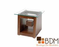 Mesa lateral de madera y cristal