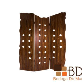 Biombo moderno de madera color chocolate