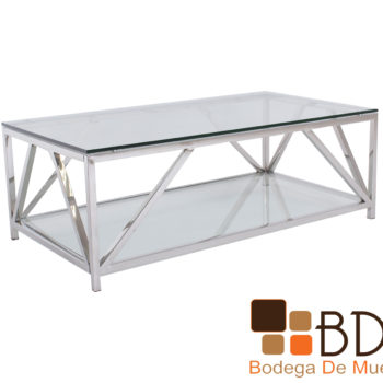 Mesa de centro con estructura de acero inoxidable