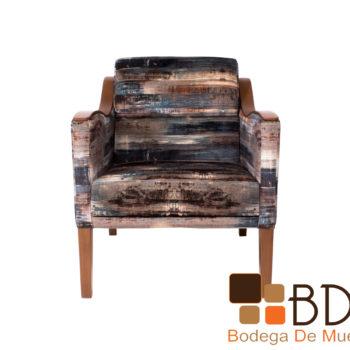 Sillon ocasional de madera tapizado en tactopiel