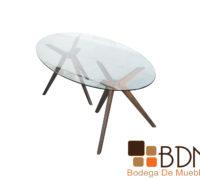 Mesa de comedor estructura rustica cubierta cristal