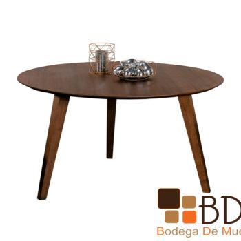 Mesa de madera redonda para comedor color nogal