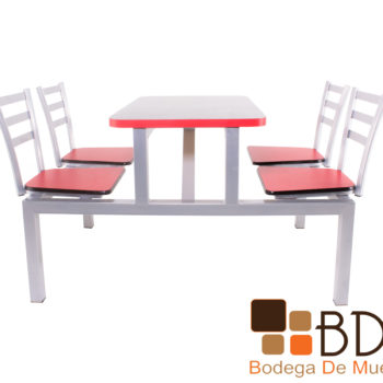 Mesa para restaurante en acero color rojo