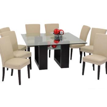 Mesa rectangular para comedor con cubierta de cristal