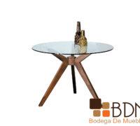 Mesa comedor redonda estructura rustica cubierta de cristal