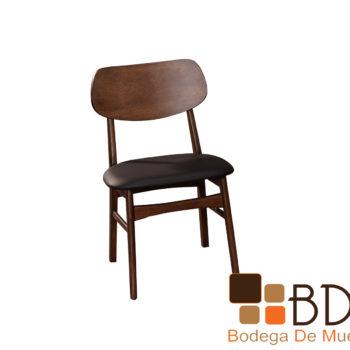 Silla moderna minimalista de madera color chocolate