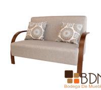 Love seat fabricado en madera tapizado en tela cafe