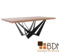 Mesa para comedor estilo industrial base metalica