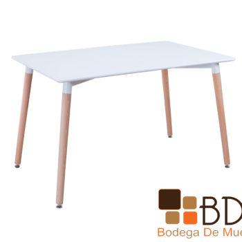 Mesa moderna con cubierta blanca y base de madera