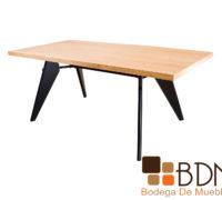 Mesa estilo industrial para comedor cubierta de madera