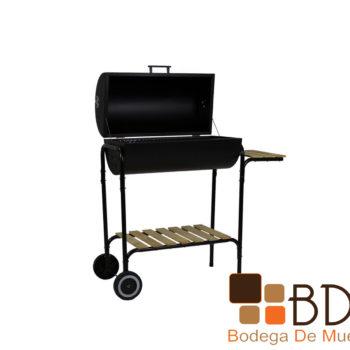 Asador de acero con rueditas color negro