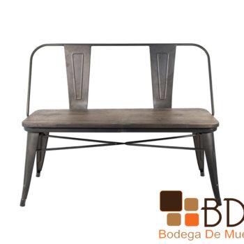 Banca moderna con base de metal y asiento de madera