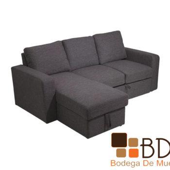 Sofa cama tapizado en tela color gris con baul