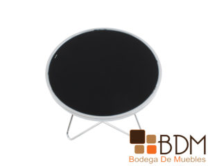 Mesa lateral estilo minimalista con cubierta color negro
