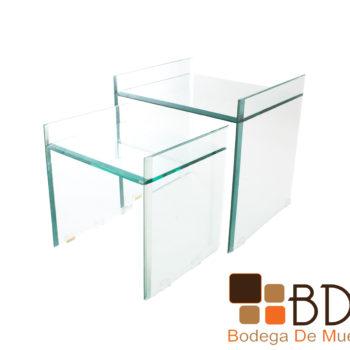 Set de mesas ocasionales de cristal para sala