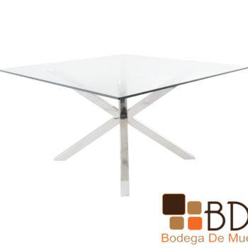 Mesa de comedor cuadrada cromada cubierta cristal