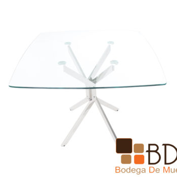 Mesa de comedor moderna con cubierta de cristal