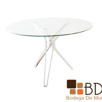 Mesa para comedor redonda de cristal base cromada
