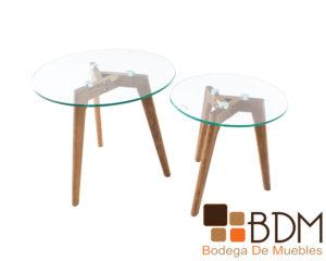 Set de mesas ocasionales con cubierta de cristal