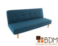 Sofa cama color azul con patas de madera