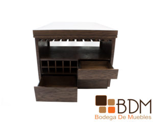 Mesa bar con cava en mdf y madera poplar