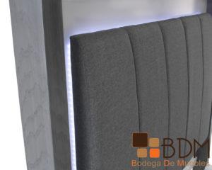Recamara especial con luz led en madera poplar gris y blanco