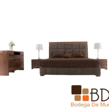 Recamara moderna king size en madera de nogal color nogal claro