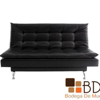 Sofa cama en tacto piel negro estructura madera y patas metal