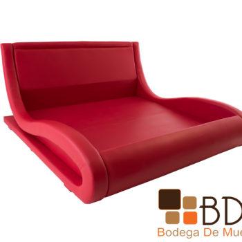 Base king size con respaldo en color rojo para habitaciones