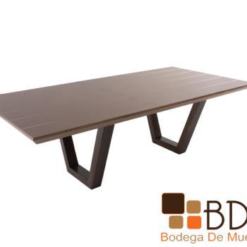 Mesa de comedor rectangular en MDF en enchapado nogal natural
