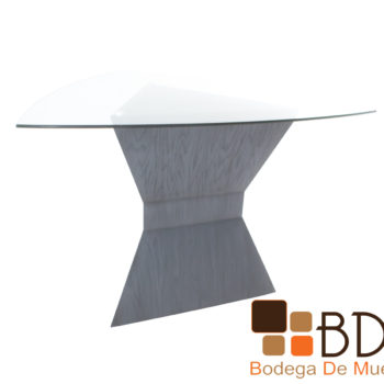 Mesa de comedor modernista de madera con cubierta cristal