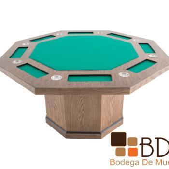 Mesa de juego de poker moderna color tabaco