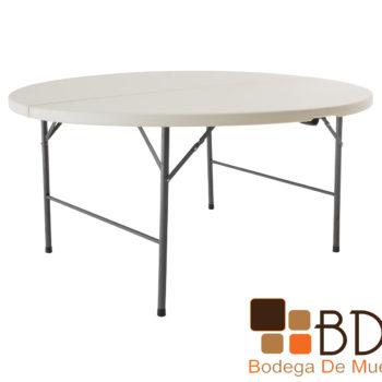 Mesa plegable de acero y plastico color beige